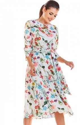 Kwiatowa sukienka ecru M192