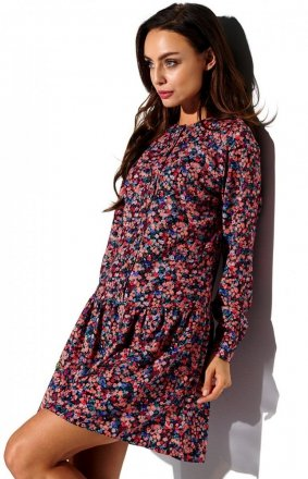 Koszulowa sukienka w kolorowe kwiatki L311/D10