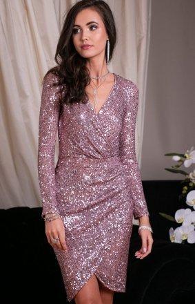 Wieczorowa sukienka cekinowa różowa 0265