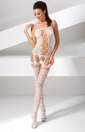 Passion BS054 bodystocking białe