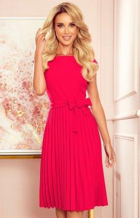 Numoco 311-5 plisowana sukienka midi malinowa
