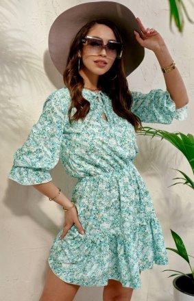 Kwiatowa sukienka z wiązaniem 0325/S91