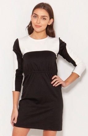 Sukienka mini ecru-czarna SUK192