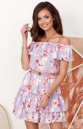 Letnia sukienka hiszpanka w kolorowe kwiaty 0291 S51