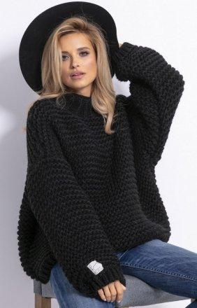 Ciepły sweter alpaka czarny F790