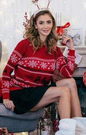 Ciepły świąteczny sweter czerwony wzór F855