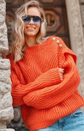 Damski sweter z falbankami orange S117