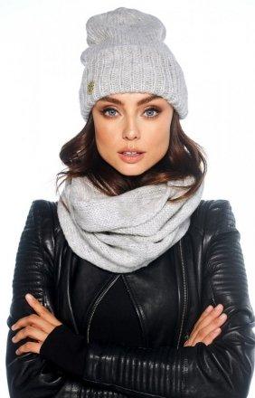 Zimowy komplet czapka i szalik szary LC119