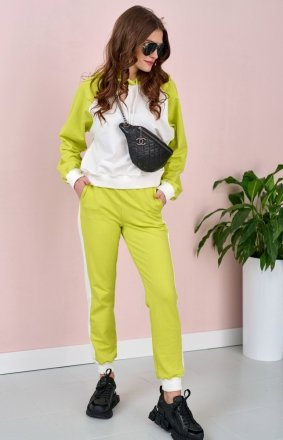 Dwukolorowy dres z kapturem limonka 0006