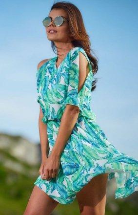 Zwiewna sukienka w kolorowy zielony wzór A295