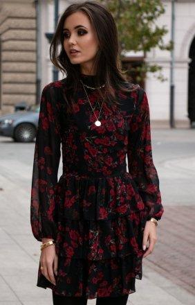 Kobieca sukienka w róże 0261/D82