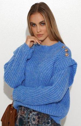 Damski sweter z falbankami blue S117