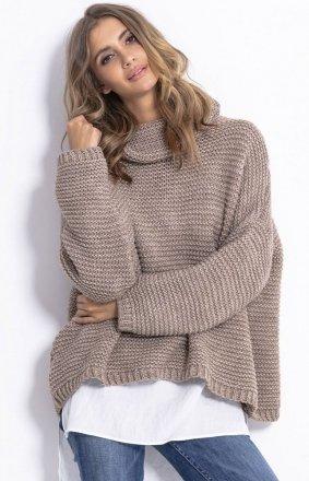 Oversizowy sweter z golfem Fobya F811 mocca