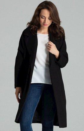 Elegancki wiązany płaszcz damski L054