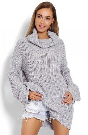 *PeekaBoo 70012 gruby sweter golf szary