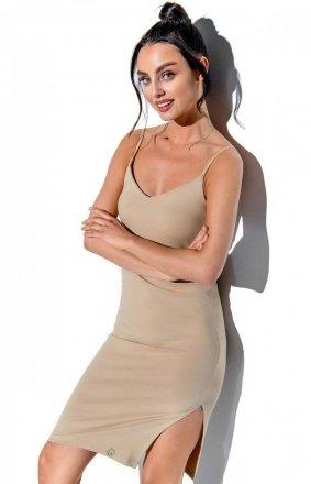Dopasowana sukienka na ramiączkach beżowa LN118
