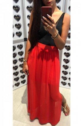 Długa spódnica z tiulem czerwona