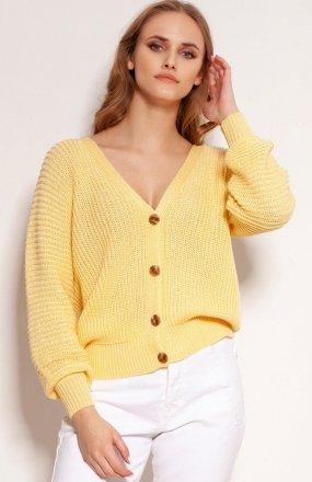 Lekki zapinany sweterek żółty SWE142