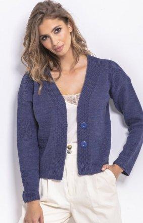 Krótki sweterek jeansowy F767