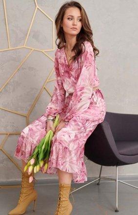 Sukienka midi z falbaną w kwiaty 0241/R32