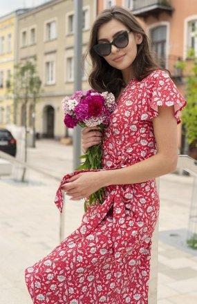 Kopertowa sukienka z asymetrycznym dołem czerwona SUK198