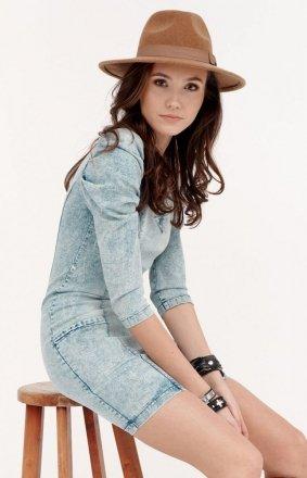 Jeansowa sukienka z bufkami 0281