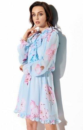 Wzorzysta sukienka z jedwabiem LG518/18
