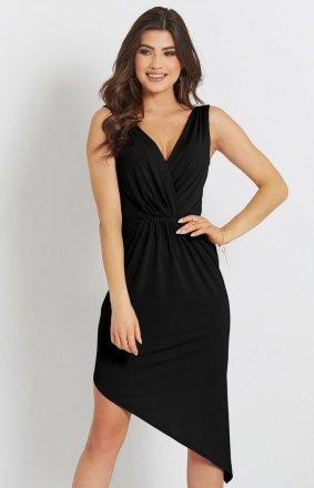 Seksowna asymetryczna sukienka czarna Gaja