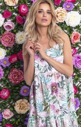 Letnia sukienka w kolorowe kwiaty F711