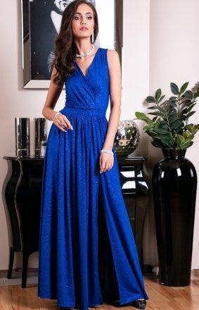 *Wieczorowa sukienka z brokatem chabrowa 224