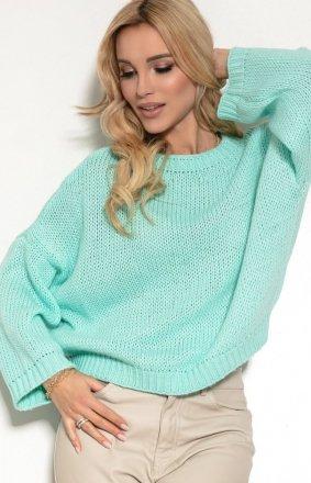 Oversizowy miętowy sweter F1155
