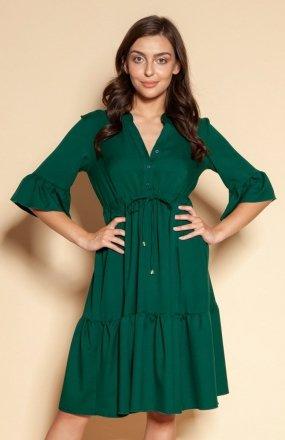 Sukienka z falbanami i troczkiem w pasie zielona SUK197