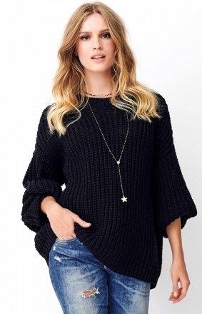 Oversizowy czarny sweter S74