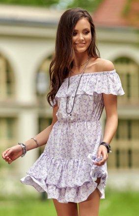 Letnia sukienka hiszpanka w kolorowe kwiaty 0291 S52