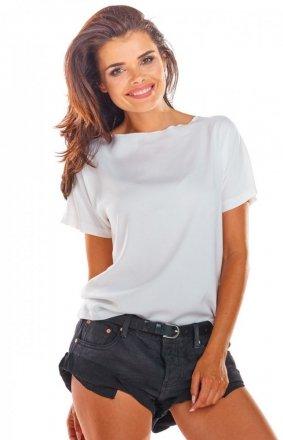 Bluzka z wiązaniami na plecach biała A292
