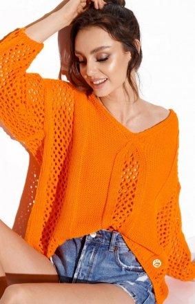 Ażurowy oversizowy sweter pomarańczowy LS281