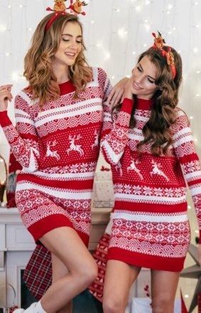 *Sweterkowa sukienka w świąteczny wzór czerwony F857