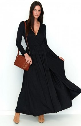 *Maxi sukienka z rozcięciem czarna NU200