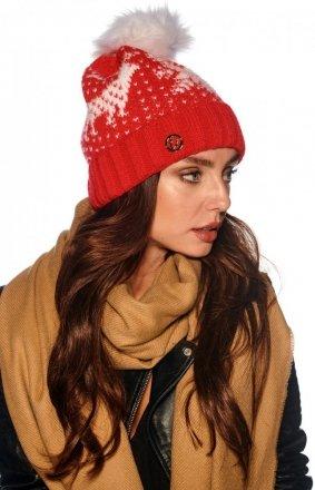 Ciepła czapka z pomponem czerwona LC120