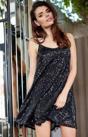 Luźna cekinowa sukienka na ramiączkach czarna A349