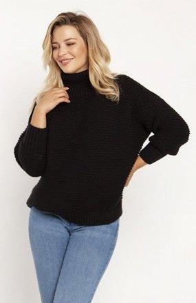 MKM SWE246 żebrowany sweter z golfem czarny