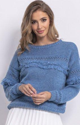 Sweter oversize z frędzlami niebieski F745