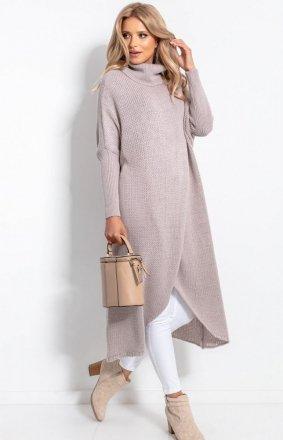 Długi sweter z golfem mocca F1052
