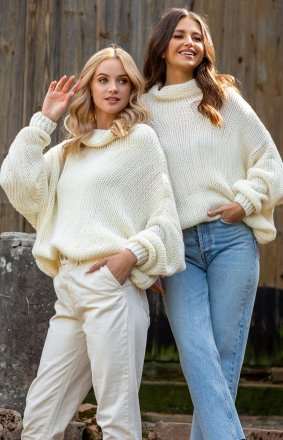 Wełniany sweter oversize ecru Fobya F1128