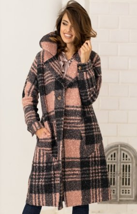 Długi płaszcz w kratę pink V275