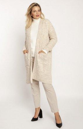 MKM PA008 swetrowy płaszcz beżowy