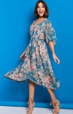Szyfonowa sukienka w różowe kwiaty S226/4