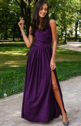 Wieczorowa sukienka z brokatem śliwkowa 224