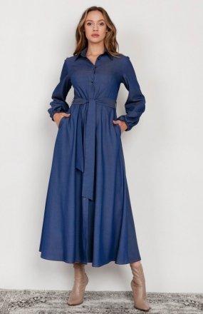 Sukienka maxi na guziki, z kołnierzykiem jeans SUK204