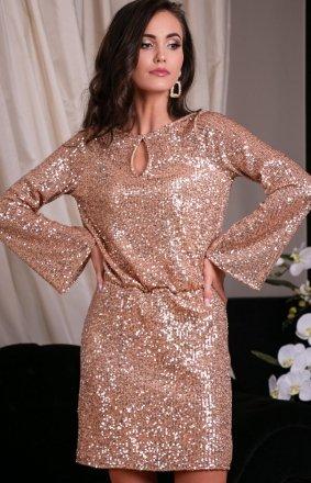 Cekinowa sukienka z wiązaniem złota 0267